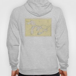 Vintage Map of The Great Lakes (1966) Hoody