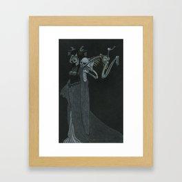 Lady Caressed by Skeleton Framed Art Print