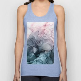 Blush and Payne's Grey Flowing Abstract Painting Unisex Tank Top