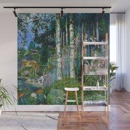 Wilderness Landscape, Wild Foxglove Flowers, White Birch, Stream & Cattle by Nikolai Astrup Wall Mural