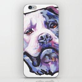 American Bulldog Portrait Dog bright colorful Pop Art by LEA iPhone Skin