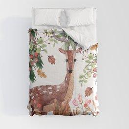 Cute, Festive, Deer and Nature Watercolor Comforters