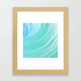Jade Ocean Waves in Watercolor Framed Art Print