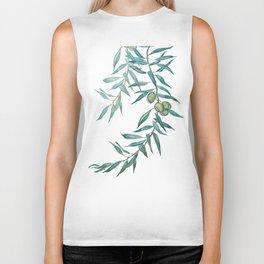 green olive leaf watercolor Biker Tank