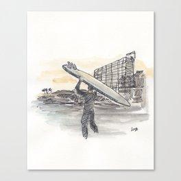 Santa Cruz Surfer – Watercolor Sketch Art Canvas Print