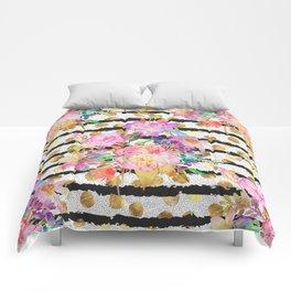Elegant spring flowers and stripes design Comforters