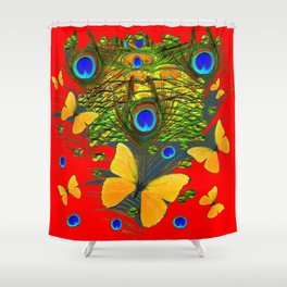 GREEN PEACOCK FEATHERS YELLOW BUTTERFLIES ON  RED ART Shower Curtain