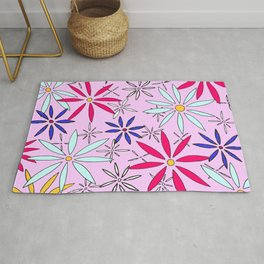 Abstract Floral Daisy Flower Pattern Pastel Art by Megan Duncanson MADART Rug