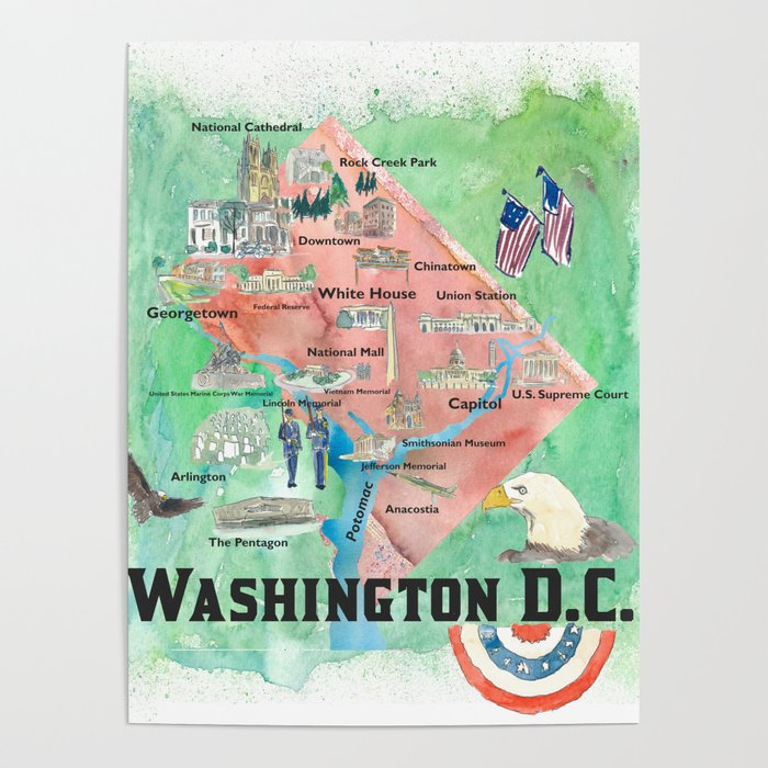 Washington DC USA Illustrated Travel Poster Favorite Map Tourist Highlights on illustrated wedding map, illustrated beach map, illustrated island map,