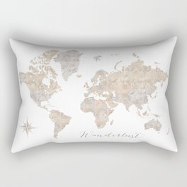 Wanderlust watercolor world map with compass rose Rectangular Pillow
