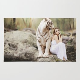 White Bengal Tiger With Japanese Woman Rug