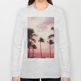Tropical Palm Tree Pink Sunset Long Sleeve T-shirt