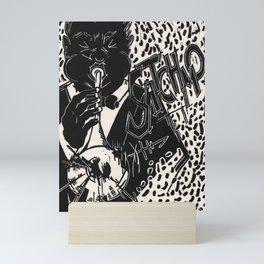 Thank You, Pops, Louis Armstrong Jazz Trumpet Black and White Block Print Mini Art Print
