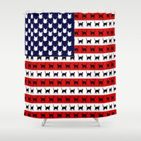 flag Shower Curtains featuring Cat Flag by Cat Attack