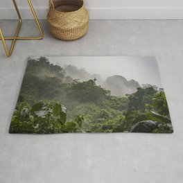 Mist and Clouds Blowing through the Jungle of the Chocoyero-El Brujo Nature Reserve in Nicaragua Rug
