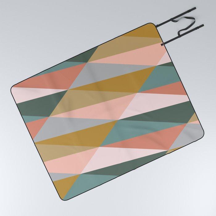 Earthy Diagonals Picnic Blanket