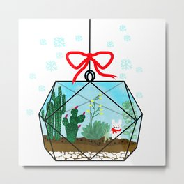 Cactus Terrarium Christmas Gift Metal Print