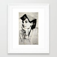 audrey Framed Art Prints featuring Audrey by Krzyzanowski Art
