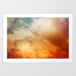 Mixed Bright Color Clouds from Blue to Orange and Red - Michelangelo Inspired Sky Art Print