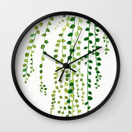 String of pearls #2 in green - ink painting Wall Clock