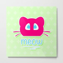 Pink cat head with blue eyes. Meow =) Metal Print