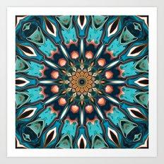 Abstract Turquoise Mandala Art Print