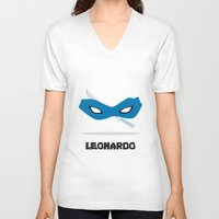 leonardo V-neck T-shirts featuring Leonardo by DSCDESIGNS
