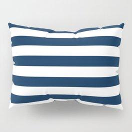 Narrow Horizontal Stripes - White and Oxford Blue Pillow Sham