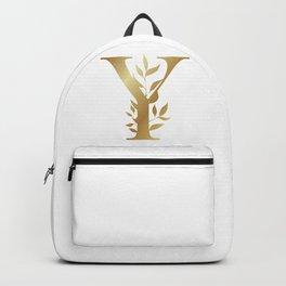 Monogram Gold Letter Y Backpack