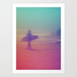 Surf Montauk Poster Version 2 Art Print