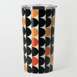 MidPacs - Mid Century Modern Geometric Abstract Circle Pattern- Black Orange Red Travel Mug