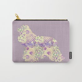 American Cocker Spaniel Vintage Floral Pattern Mauve Lilac Lavender Cream Carry-All Pouch