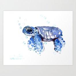 Baby Blue Turtle Art Print