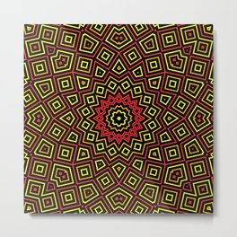 Red Orange and Yellow Kaleidoscope Metal Print
