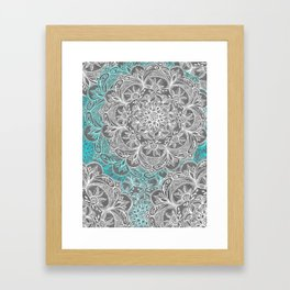 Turquoise & White Mandalas on Grey Framed Art Print