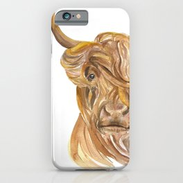 Highland Cow Watercolor iPhone Case