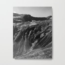 Swiss Alpine Mountains in Black and White Metal Print
