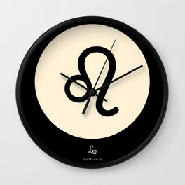 Leo Symbol Black Wall Clock