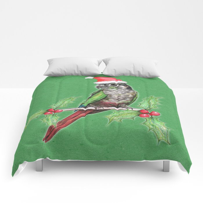 Christmas green cheeked conure Comforters