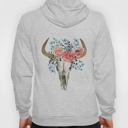 Bohemian bull skull with flowers Hoody