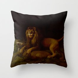 George Stubbs - A Lion Attacking a Stag Throw Pillow