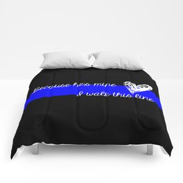LEO Wife Thin Blue Line - Because he's mine I walk this line Comforters