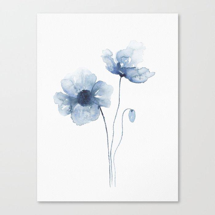 Blue Watercolor Poppies Leinwanddruck