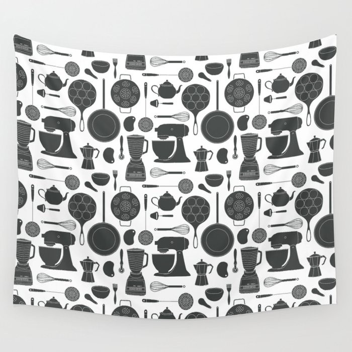 Kitchen Tools (black on white) Wall Tapestry