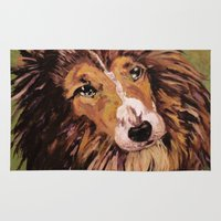 border collie Area & Throw Rugs featuring Collie by WyldWolf