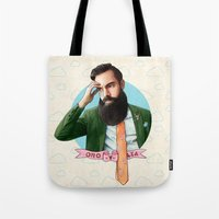 montana Tote Bags featuring Mr. Montana by keith p. rein