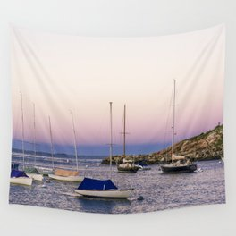 Earth's shadow over the harbor Wall Tapestry