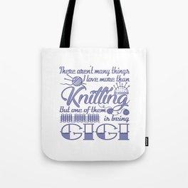 Knitting Gigi Tote Bag