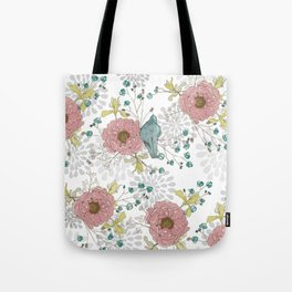 Blue Bird and Peonies Tote Bag