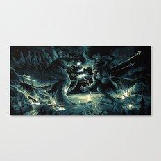 Godzilla vs Kingkong Blue Yellow Canvas Print